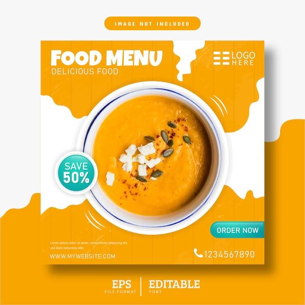 Menu de comida e design de banner amarelo de mídia social de restaurante