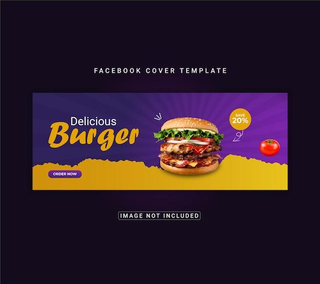 Menu de comida e hambúrguer delicioso design de modelo de capa do facebook