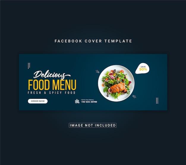 Menu de comida e modelo de banner de capa do facebook de restaurante
