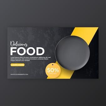 Menu de comida e modelo de capa de mídia social de restaurante para promoção