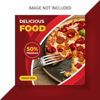 Menu de comida e restaurante de comida em mídia social post insta