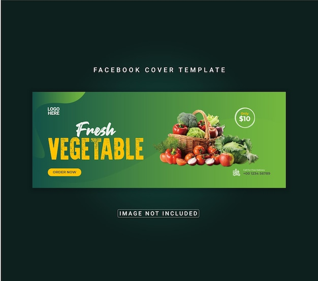 Menu de comida e salada saudável modelo de banner de capa do facebook