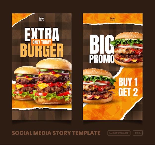 Menu de comida e uma deliciosa história do instagram e facebook e modelo de banner