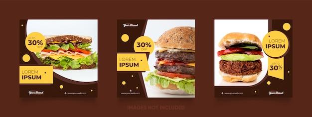 Menu de comida especial de hambúrguer e pizza postar modelo na cor marrom