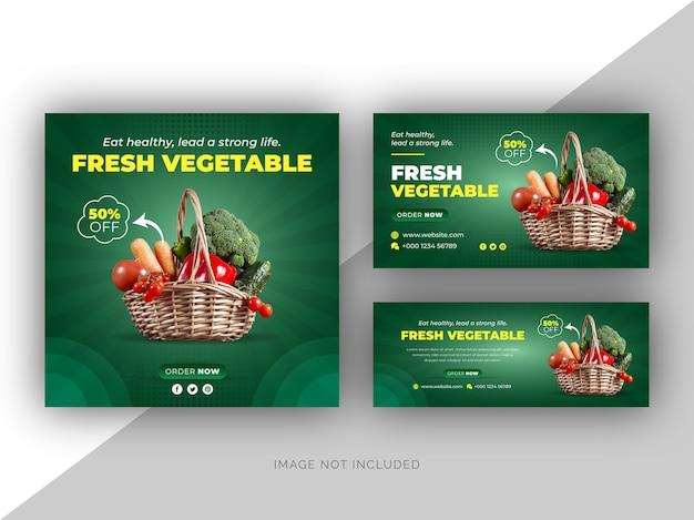 Menu de comida fresca vegetal, banner da web de mídia social e modelo de design de capa do facebook