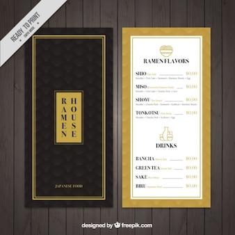 Menu de comida japonesa elegante