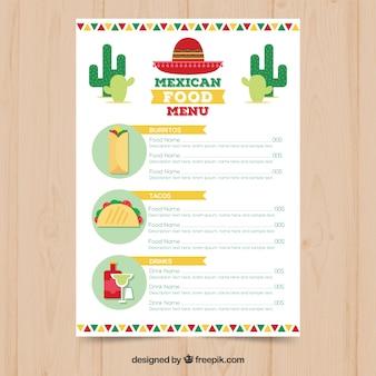 Menu de comida mexicana branca