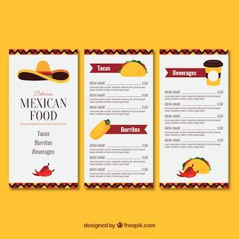 Menu de comida mexicana com três páginas