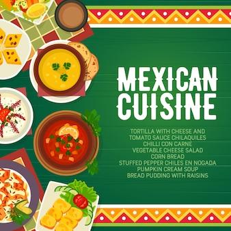 Menu de comida mexicana cozinha pratos de restaurante