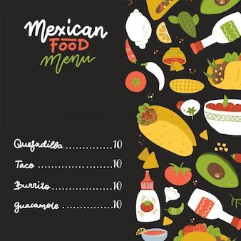 Menu de comida mexicana em fundo preto decorado com conjunto de elementos à mão livre