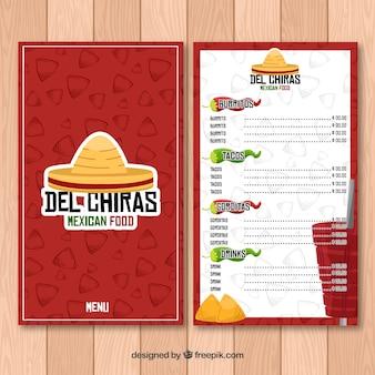 Menu de comida mexicana vermelha