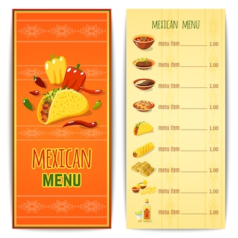 Menu de comida mexicana