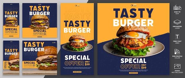 Menu de comida mídia social post modelo vector design.burge menu modelo pode ser usado para promoção.