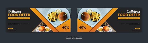 Menu de comida nas redes sociais, postagem da página de capa do facebook