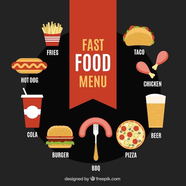 Menu de comida rápida em estilo plano