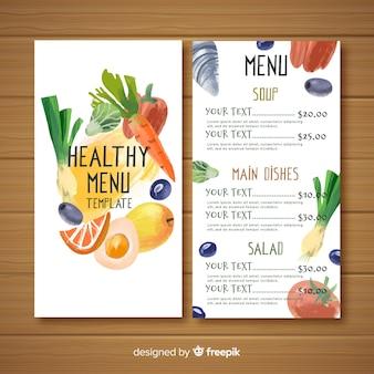 Menu de comida saudável colorido em aquarela
