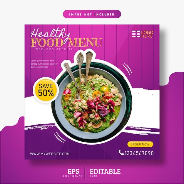 Menu de comida saudável e restaurante mídia social banner roxo design gradiente