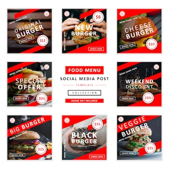 Menu de comida social media postar coleção de modelo