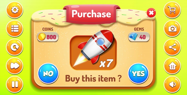 Menu de compra e compra com pop-up de estrelas e botões gui