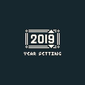 Menu de configuração de ano de pixel com texto de 2019.