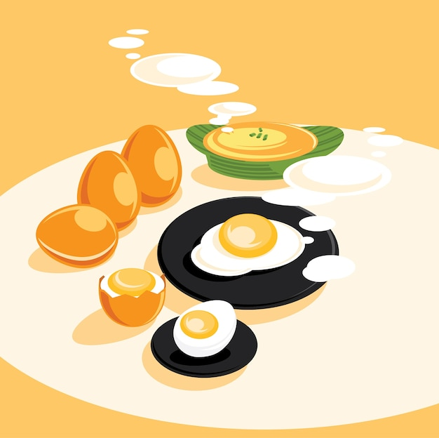 Menu de cozinhado ovo fresco