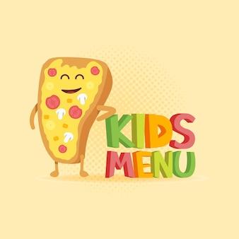 Menu de crianças engraçado sinal 3d com personagens de pizza.