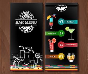Menu de design para cocktail bar no estilo corporativo.