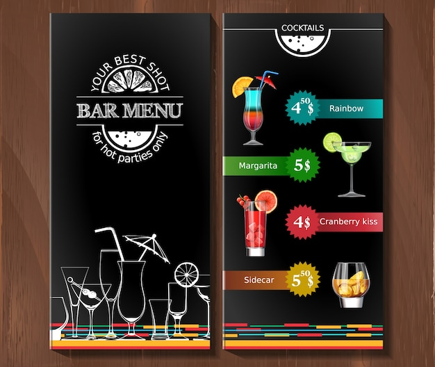 Menu de design para cocktail bar no estilo corporativo.