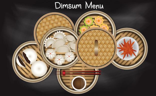 Menu de dim sum chinês na cesta de bambu steamer