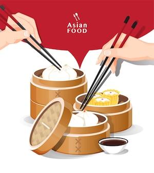 Menu de dim sum com comida asiática