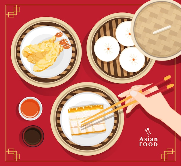 Menu de dim sum com ilustração de comida asiática