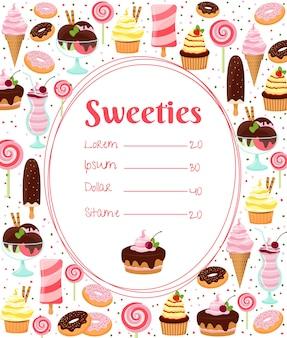 Menu de doces ou lista de preços em uma moldura oval cercada por ícones coloridos de sorvete com cobertura e bolos gelados, doces, milkshakes e sobremesas em branco