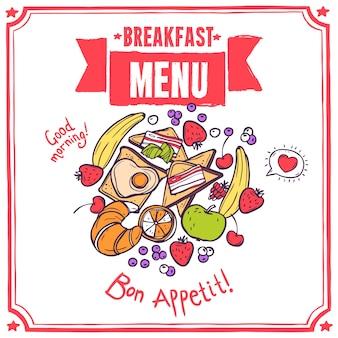 Menu de esboço do café da manhã