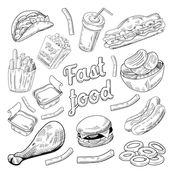 Menu de fast food no quadro-negro