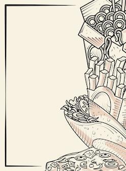 Menu de fast food restaurante burrito pizza batata frita desenho à mão ilustração de pôster