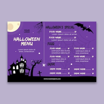 Menu de festa de halloween