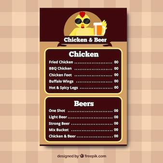 Menu de frango e cerveja