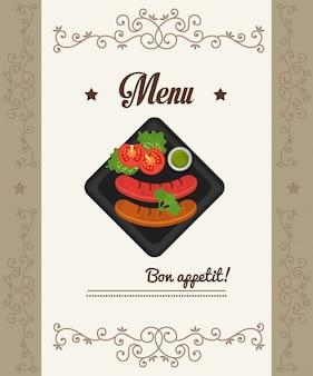 Menu de gastronomia e restaurante