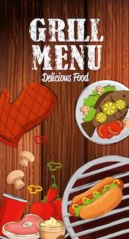 Menu de grelhados com comida deliciosa na mesa de madeira