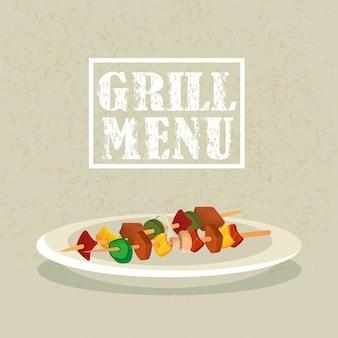 Menu de grelhados com deliciosa brochura no prato
