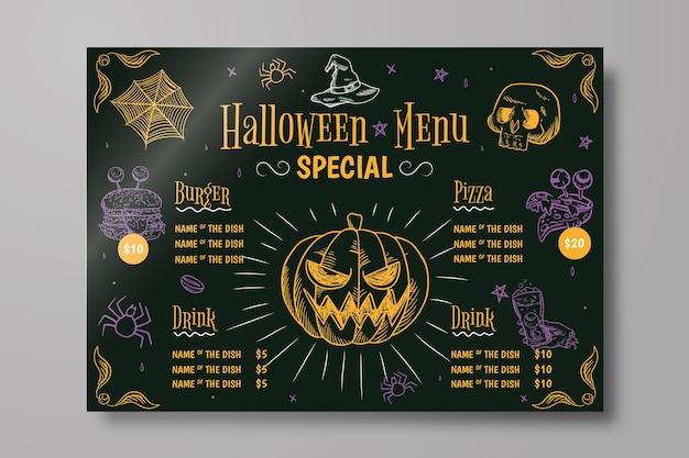 Menu de halloween desenhado à mão