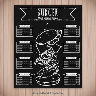 Menu de hambúrguer na tábua de giz