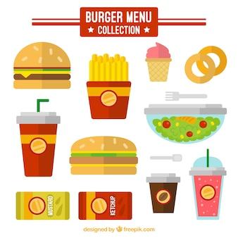 Menu de hambúrguer no design plano