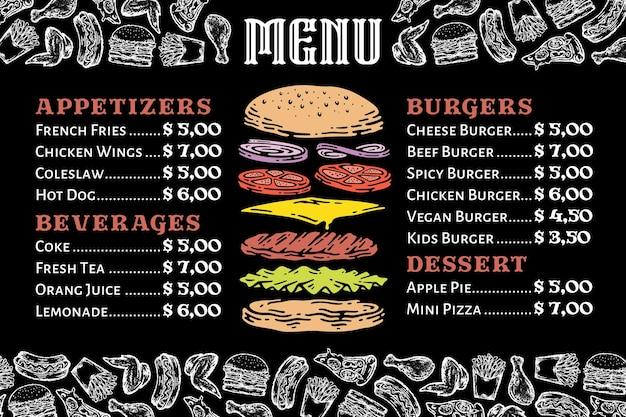 Menu de hambúrguer no quadro-negro com ilustração do elemento de fast food