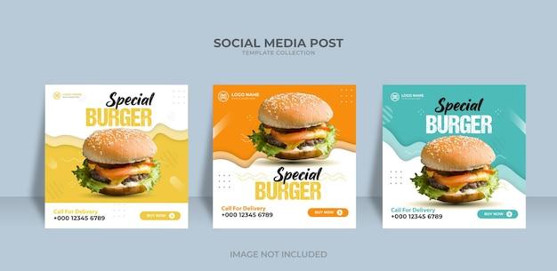Menu de hambúrguer, restaurante, promoção de comida, modelo de banner de mídia social