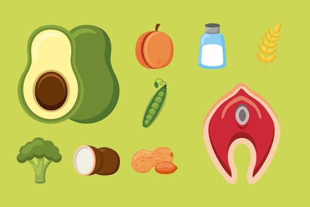 Menu de ingredientes da dieta de nove minerais
