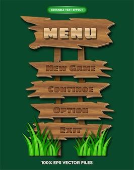 Menu de jogo de madeira vector grátis (efeito de texto editável)