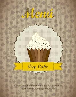 Menu de loja de pastelaria com ilustração em vetor bolo cup