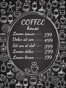 Menu de lousa da cafeteria com uma moldura oval central com a lista de preços cercada por uma variedade de ilustração vetorial de café branco no preto
