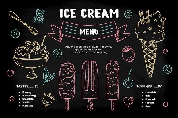 Menu de lousa de sorvete saboroso